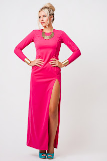 Long Sleeve Thigh Split Maxi in Hot Pink