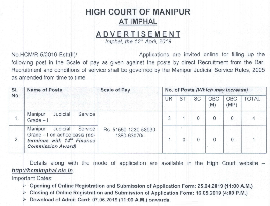 Post of Manipur Judicial Service Grade I at High Court of