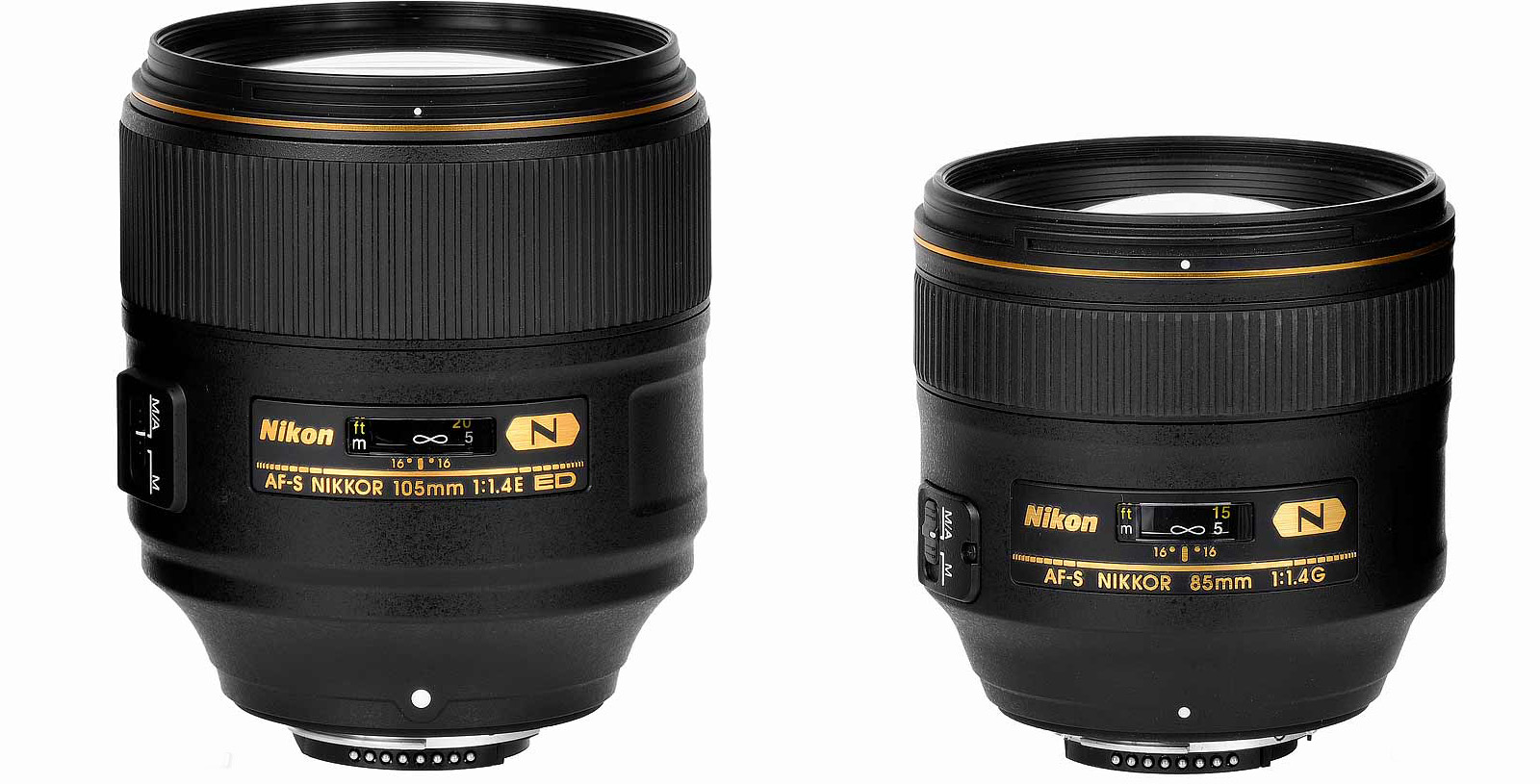 Сравнение размеров Nikon 105mm f/1.4E и 85mm f/1.4G