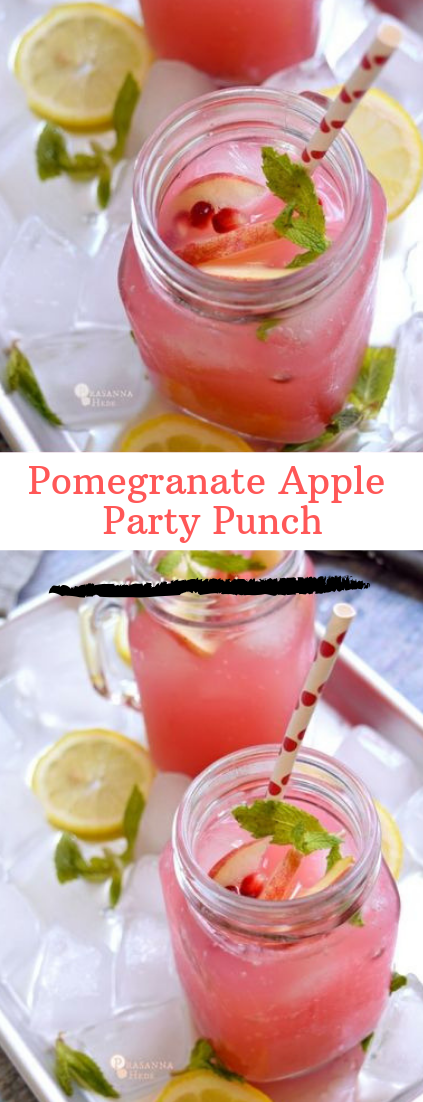 Pomegranate Apple Party Punch #easyrecipe #cocktail