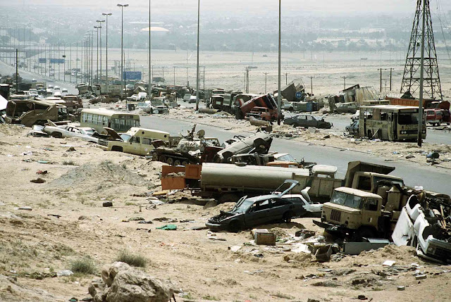 Most of the vehicles were abandoned by the time they were struck. While high casualty counts are upwards of 10,000 for the entire battle, low end estimates are only around 200-300.