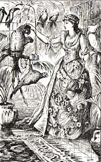 Desenhos do conto A Bela e a Fera, por H. J. Ford, do Livro Azul das Fadas, 1889