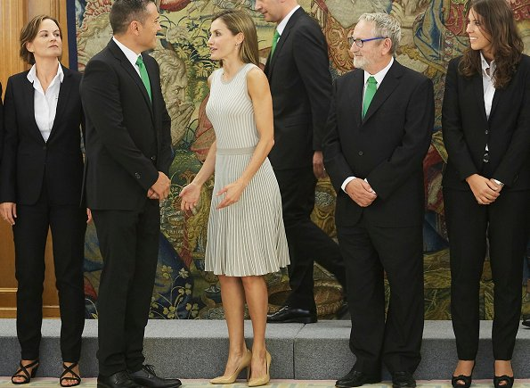 Queen Letizia wore Hugo Boss pleated Skirt occasion dress, Magrit pumps and Tous Jewelers Gold diamond earrings