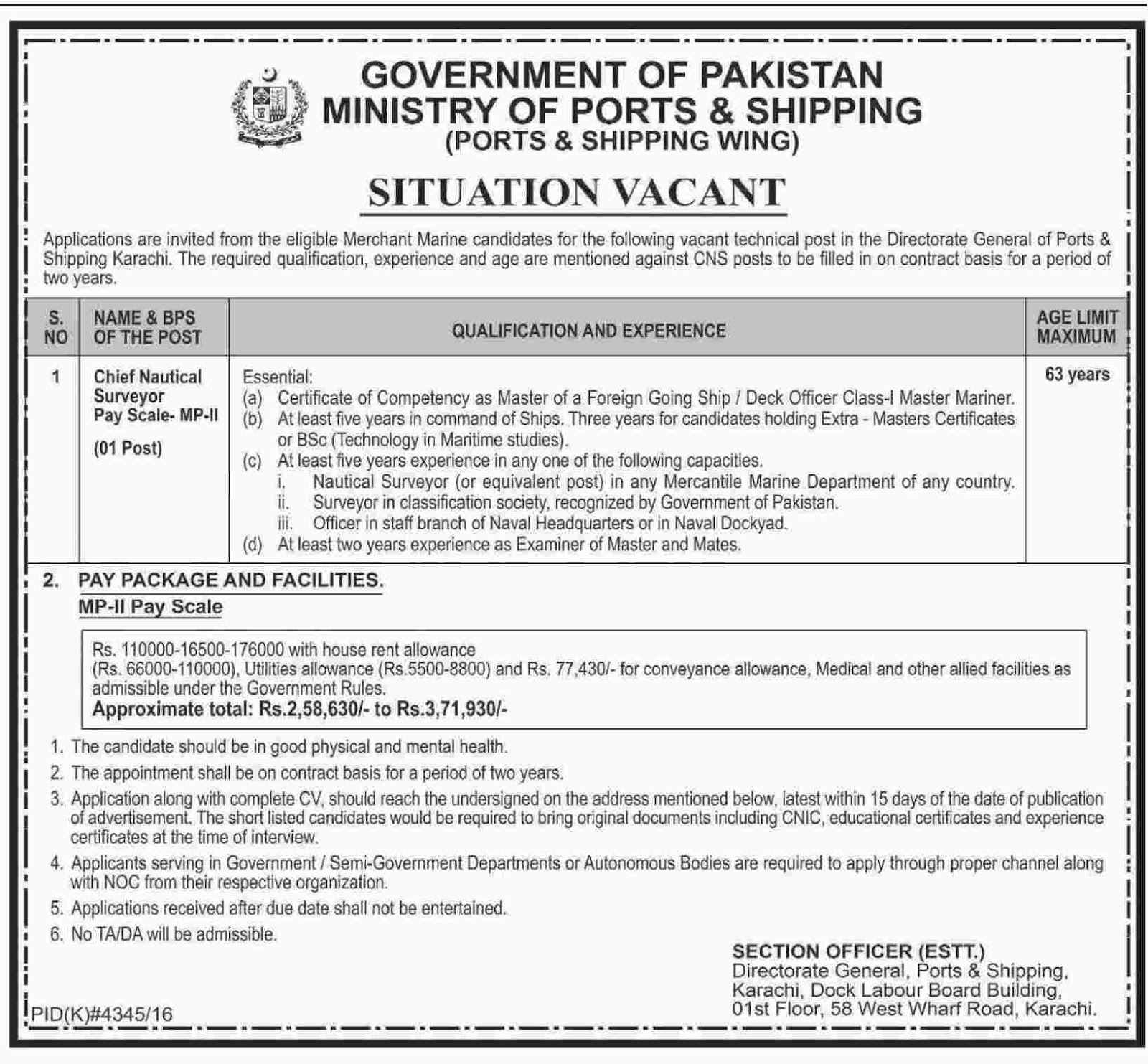 Govt Jobs in Ministry Of Ports And Shipping port & shopping wing 19 May 2017
