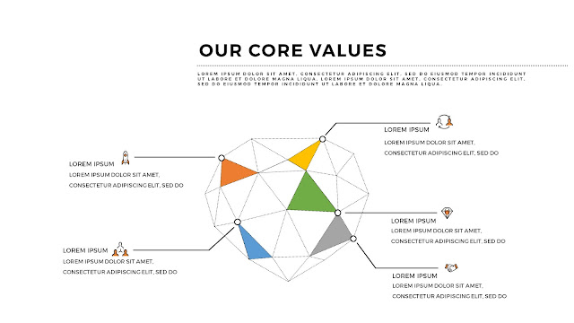 Free PowerPoint Templates for Our Values Presentation with Diamond Diagram