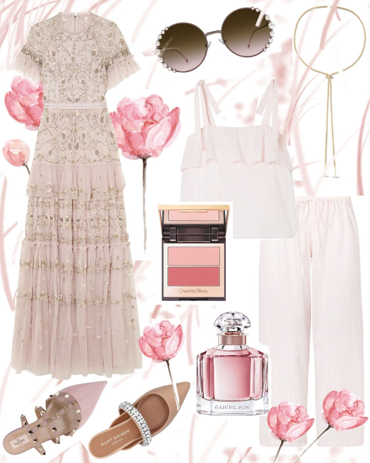 Fashion Feminine Romantic Summer Moodboard