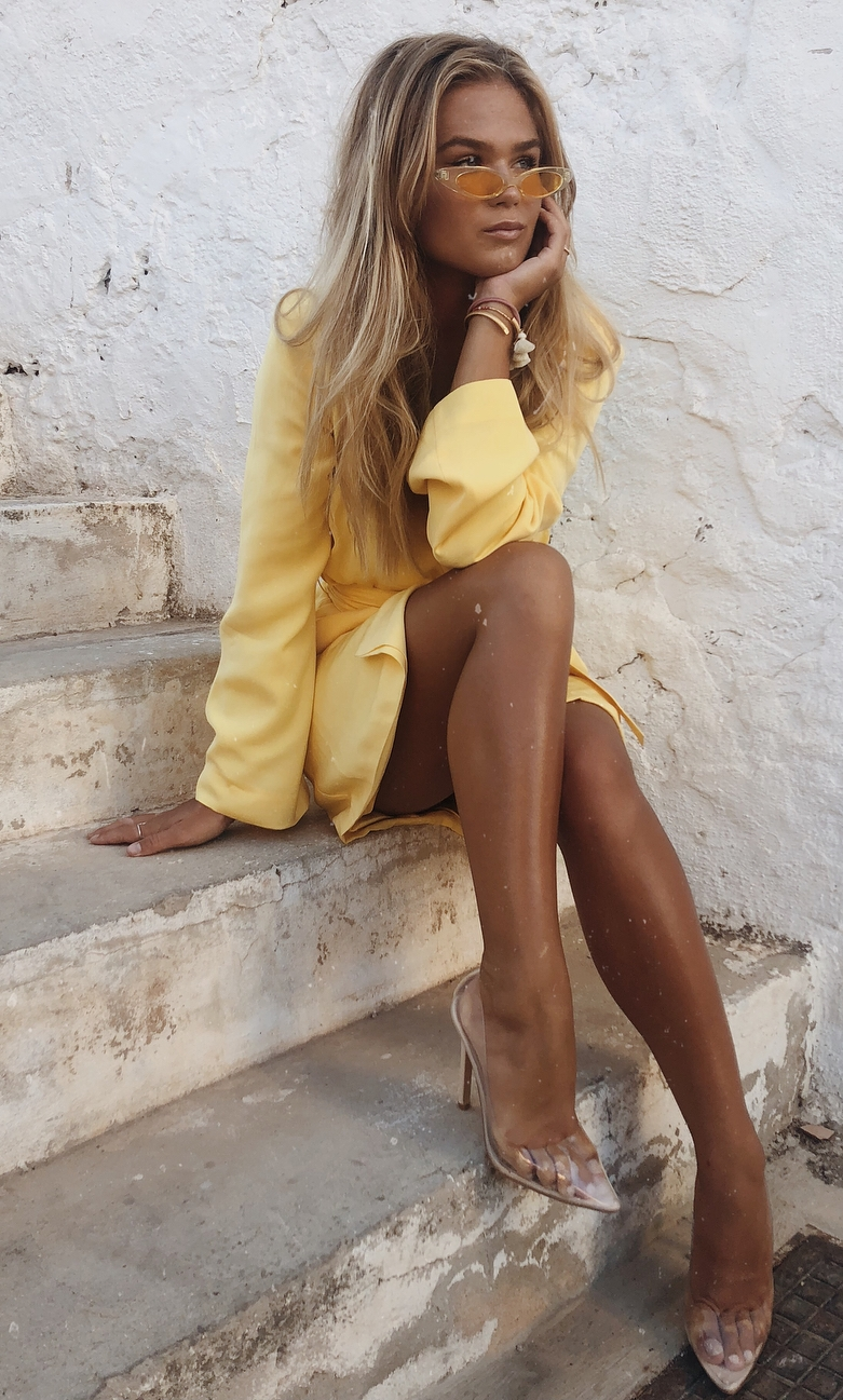 summer outfit / yellow shirt dress and clear heels