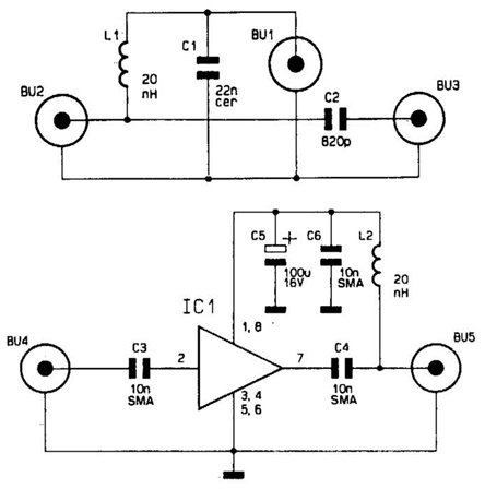 Circuits : Wideband Antenna Preamplifier Circuit