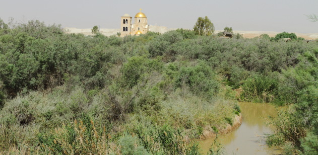 Meandering Jordan river from Jordan side