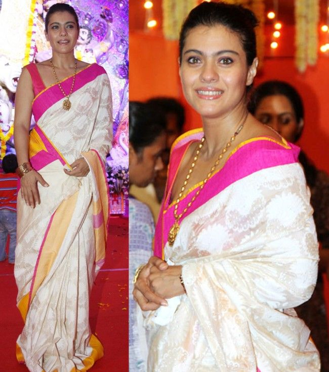 Kajol in a white saree