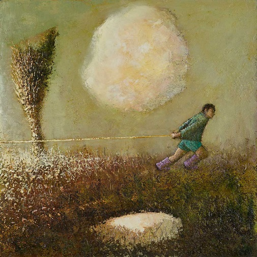 """""""Pull"""" painting by Simon Garden - oil on panel, 2017 