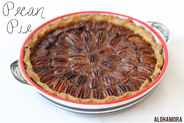 Classic Pecan Pie recipe.  This classic Thanksgiving pie is delicious with the perfect amount of richness, but it isn't too sweet.  It's the perfect recipe, and it's all thanks to my Mom.  Pie, Pecan, Classic, Easy to make. Alohamora Open a Book http;//alohamoraopenabook.blogspot.com