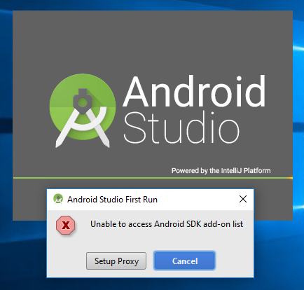 9.A1. android studio installation unable to access Androiid SDK add-on list