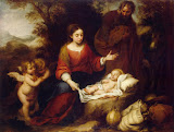 Rest on the Flight into Egypt by Bartolome Esteban Murillo - Christianity Paintings from Hermitage Museum