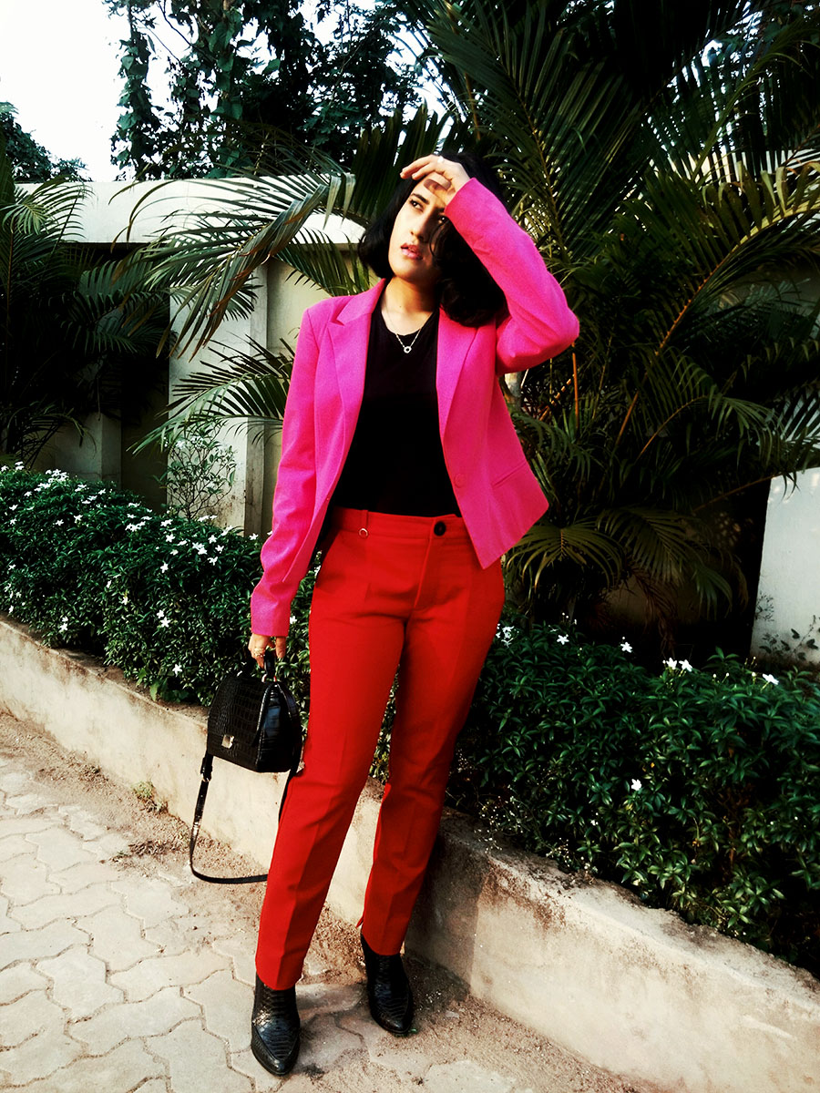 red blazer,pink blazer , thestylepanorama, indianfashionblogger