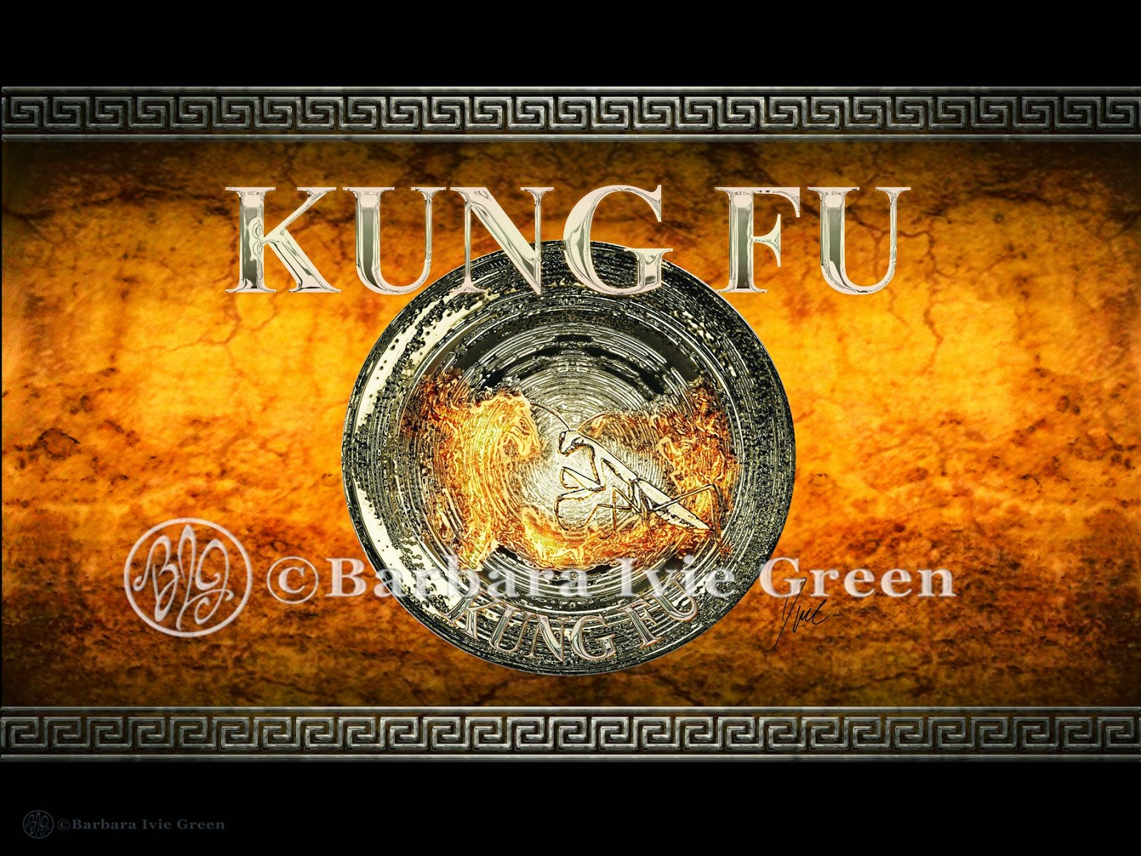 panel with Kung Fu Mantis style shield with chrome mantis and fire spirit dragon on gold background