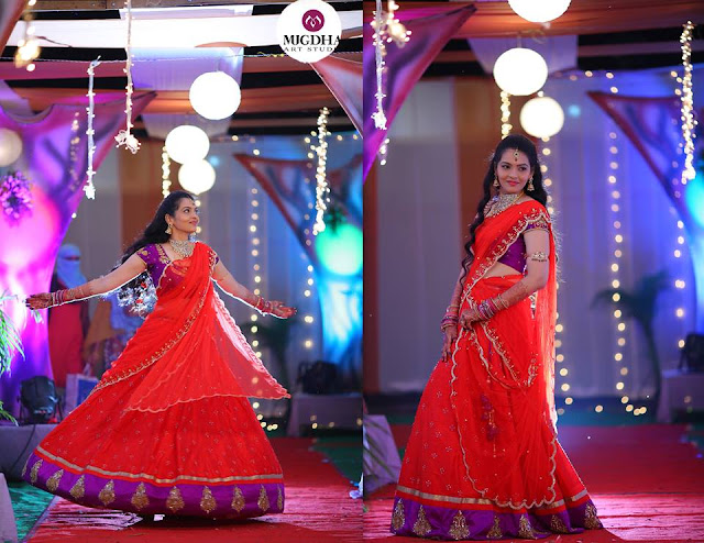 Red and Purple Half Saree by Mugdha
