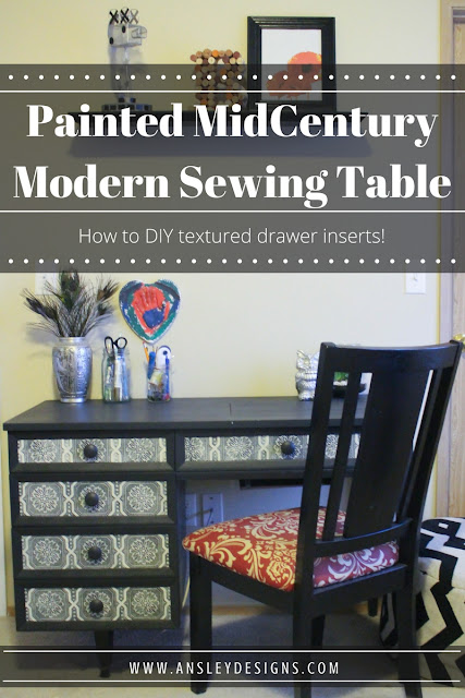 Mid Century Modern Sewing Table Makeover! PLUS learn how to DIY textured drawer inserts!