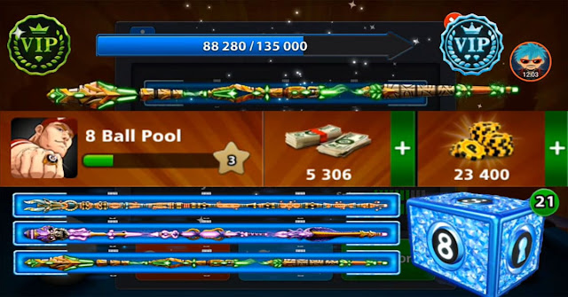 8 ball pool 5306 cash level 3 with 3 Legendary 8 ball pool
