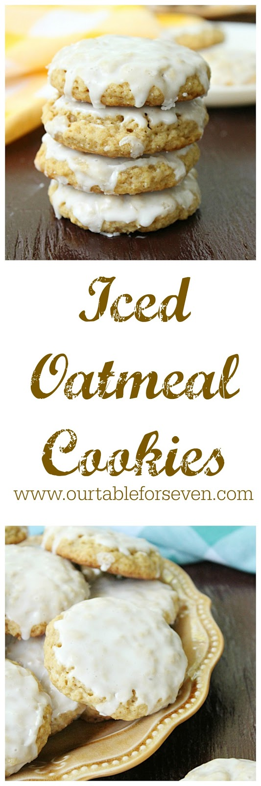 Iced Oatmeal Cookies from Table for Seven: Soft, chewy oatmeal cookies with a powdered sugar icing.
