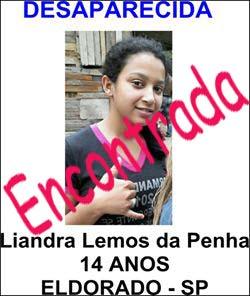 Adolescente Liandra  Lemos da Penha foi encontrada em Eldorado-SP