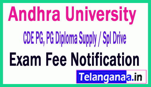 Andhra University CDE PG, PG Diploma Supply / Spl Drive  Exam Notification