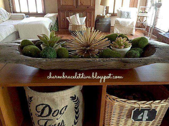 faux vintage dough bowl succulent display moss rocks