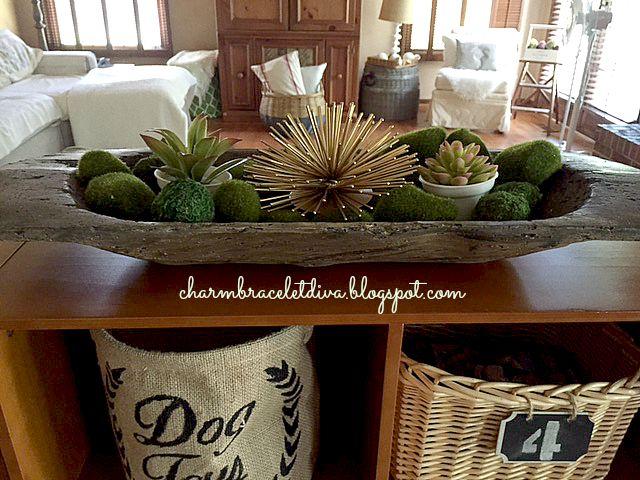 faux vintage dough bowl succulent display moss rocks
