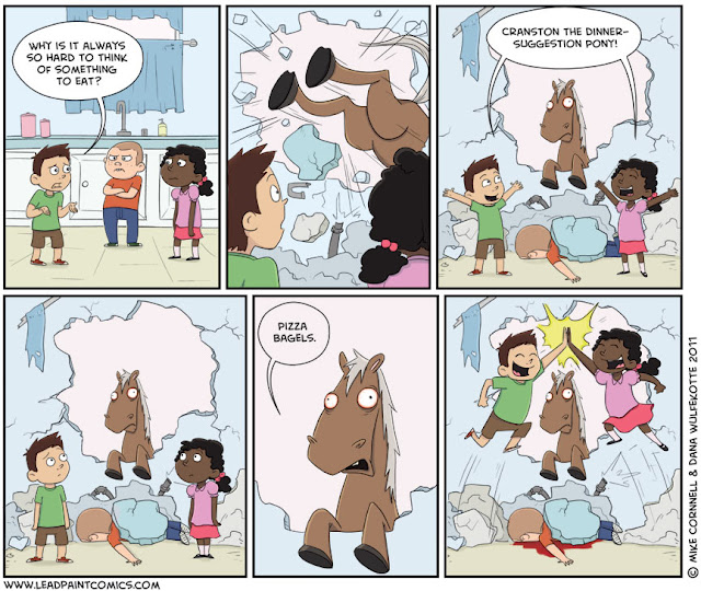 Lead Paint Comics: Cranston the Dinner-Suggestion Pony, pizza bagels