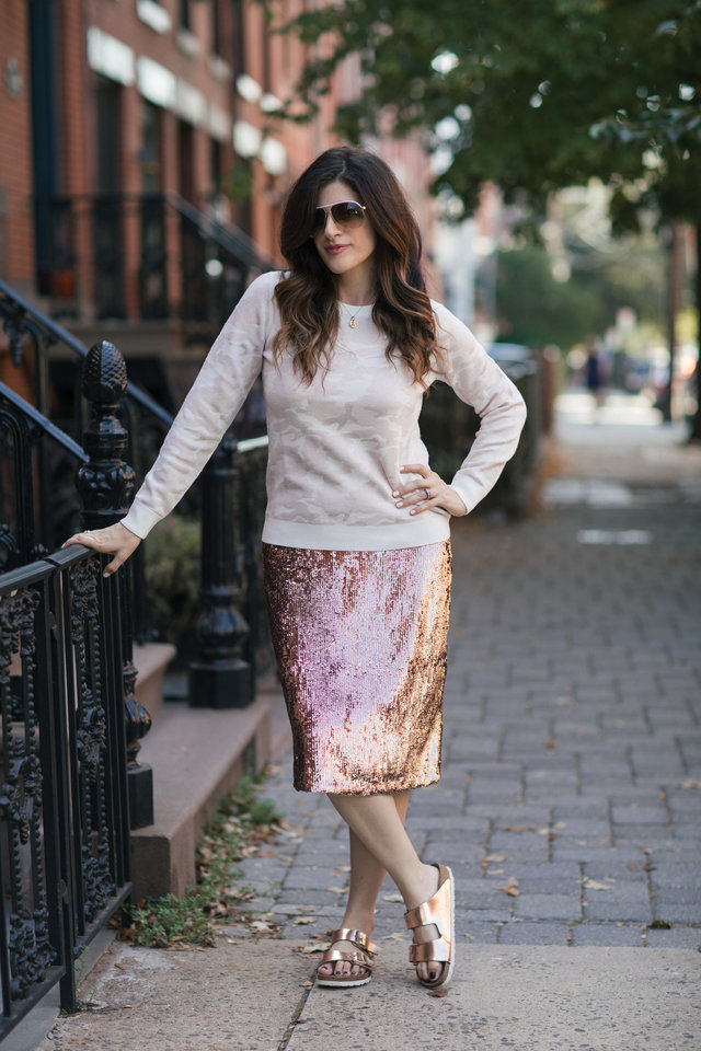 j.crew rose-gold sequin skirt