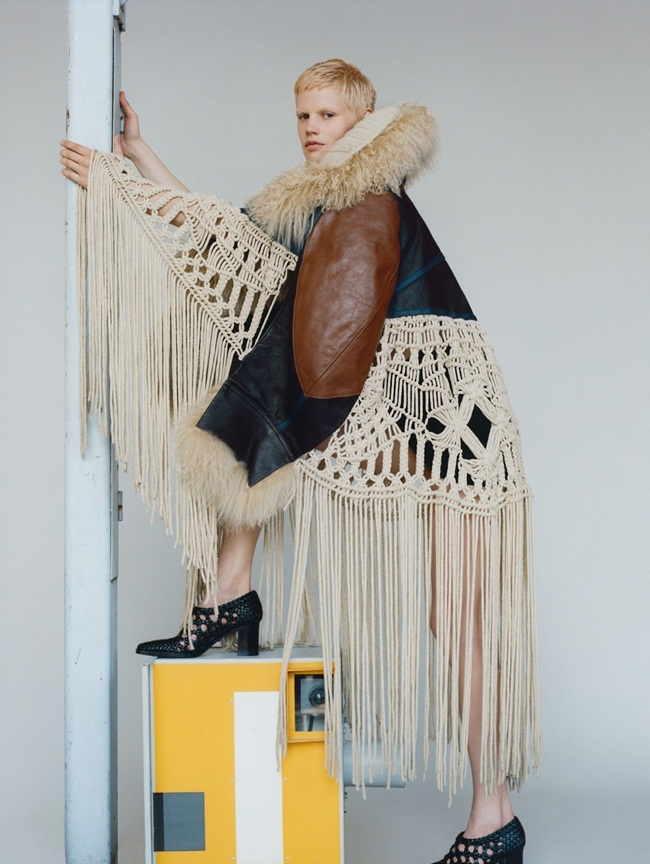 Sacai 2015 AW Beige Leather Coat with Mongolian Lamb Wool & Knitting Tassels Editorials