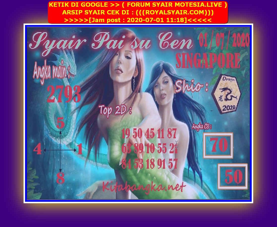 Kode syair Singapore Rabu 1 Juli 2020 90