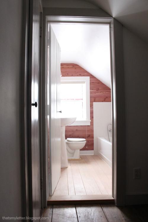 diy bathroom makeover hall view