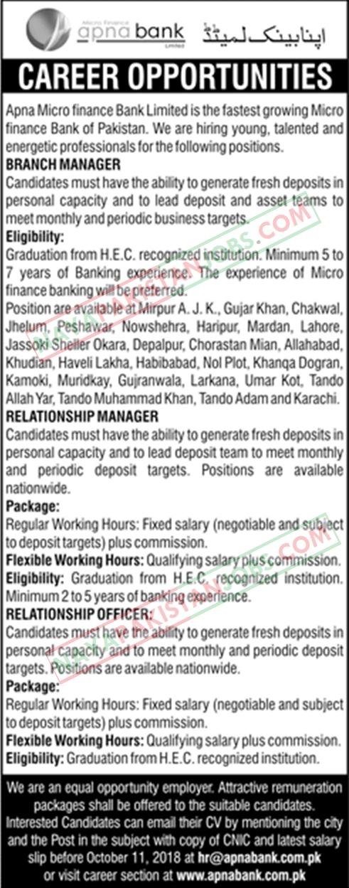 Latest Vacancies Announced in Apna Microfinance Bank Limited Karachi 1 October 2018 - Naya Pak Jobs