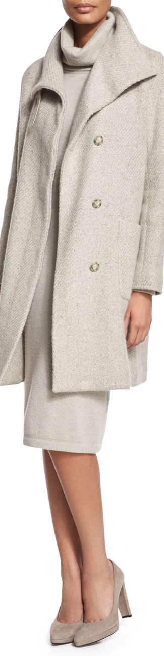 Ralph Lauren Black Label Long-Sleeve Textured Coat Pale Gray Melange