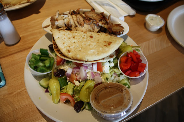 chicken gyros and the Greek salad