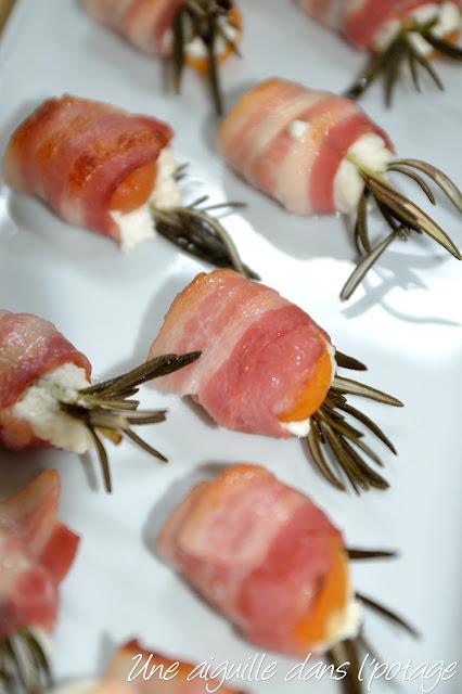 Abricots au lard, chèvre, romarin mise en bouche