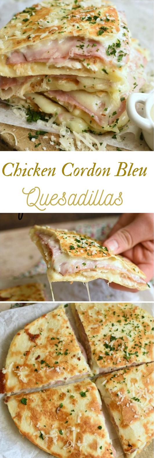CHICKEN CORDON BLEU QUESADILLAS #chicken #dinner