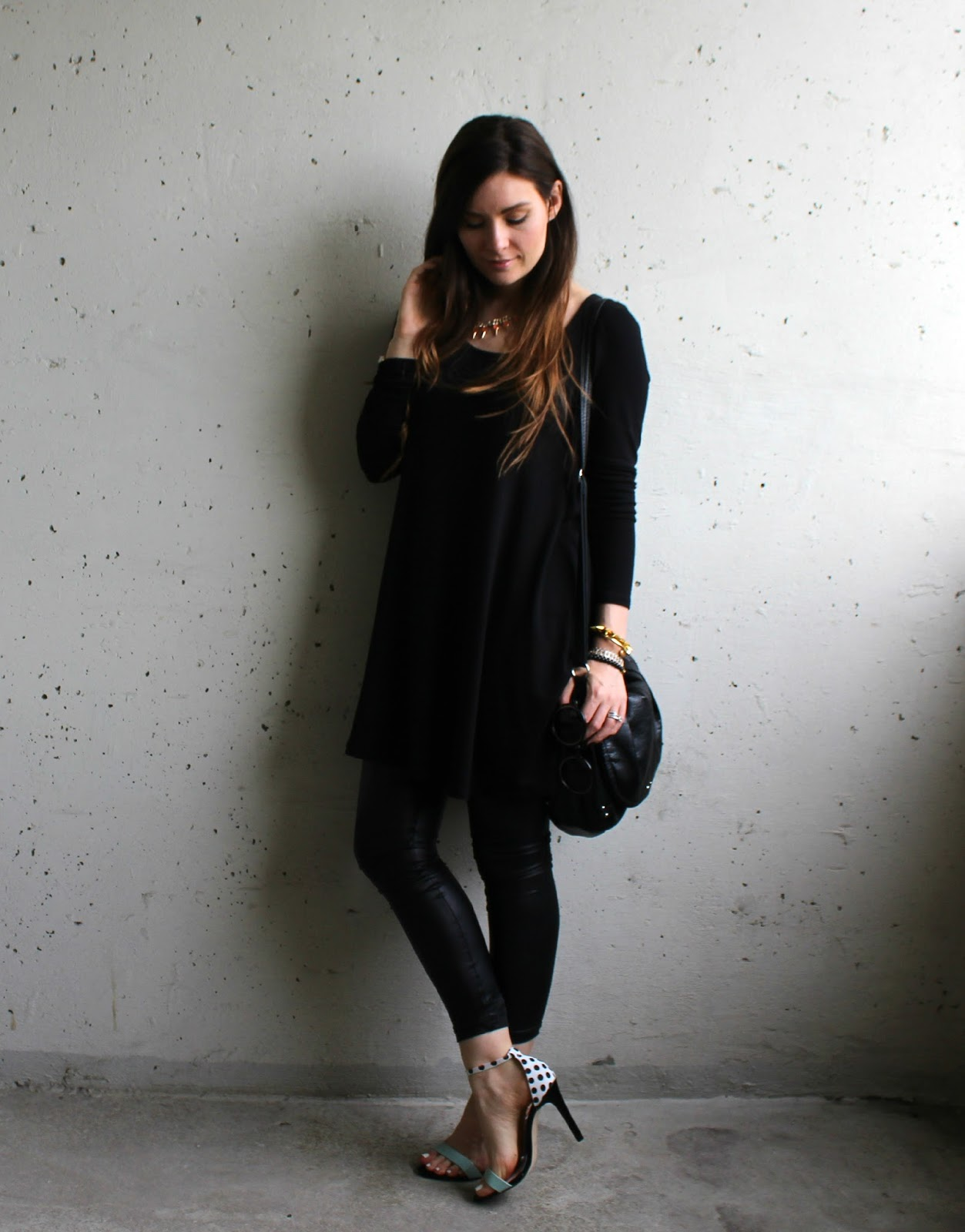 Strappy heels, black cotton dress, black leather pants