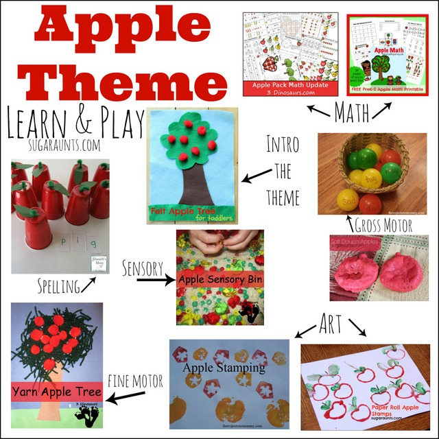 Apple themed activities for learning and play: Math, spelling, fine and gross motor, art, sensory. This is perfect for school or home preschool apple themed week!