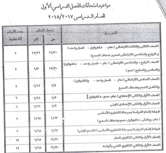 جدول إمتحانات الصف السادس الابتدائي 2018 الترم الأول محافظة الجيزة