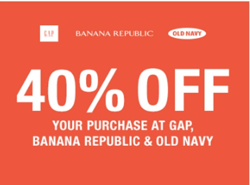 Gap, Old Navy & Banana Republic 40% Off Promo Code