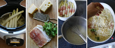 Zubereitung Gratinierte Spargel-Schinken-Röllchen mit Pellkartoffeln