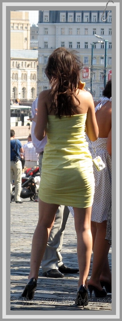 Moscow Girl in Tight Summer Mini Dress