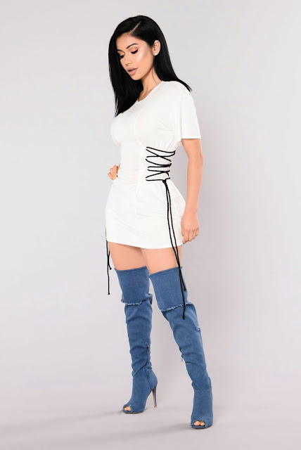 White tunic Top double side lace with long boots