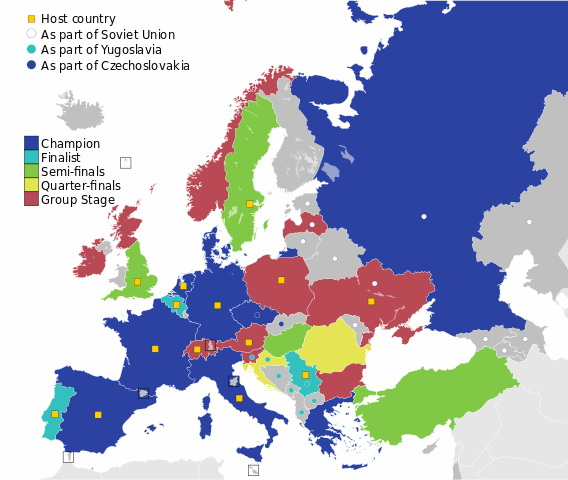 Map of countries best results in the Euro Cup