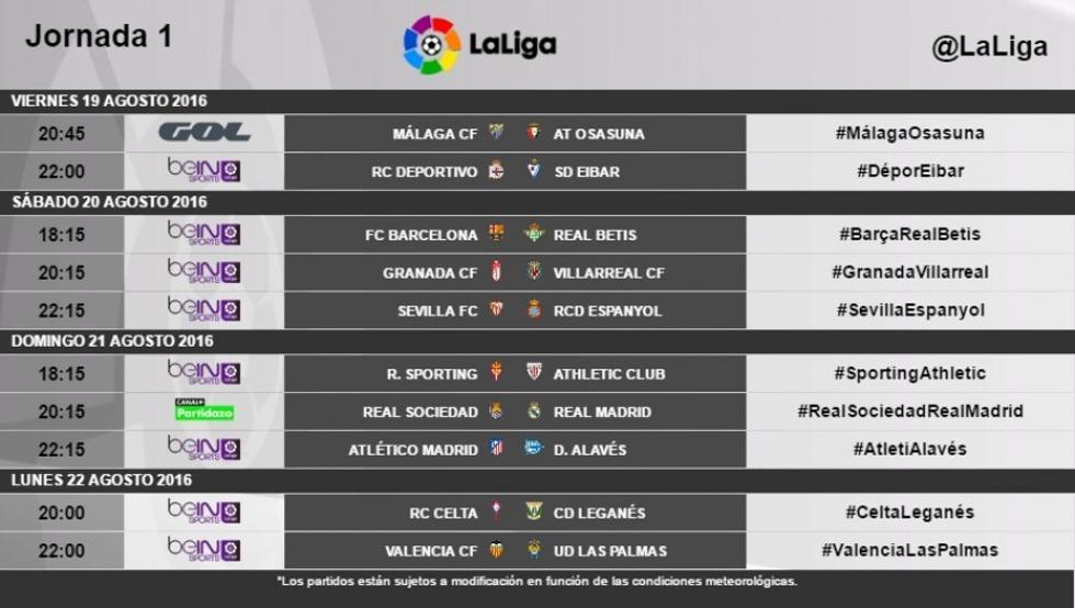 descuento más bajo Amazonas diseño novedoso Nuevo Fútbol: Primera División 2016/2017, horarios ...