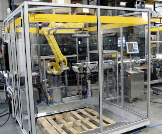 Robotic palletizer verifies case serialization labels before palletizing the cases.