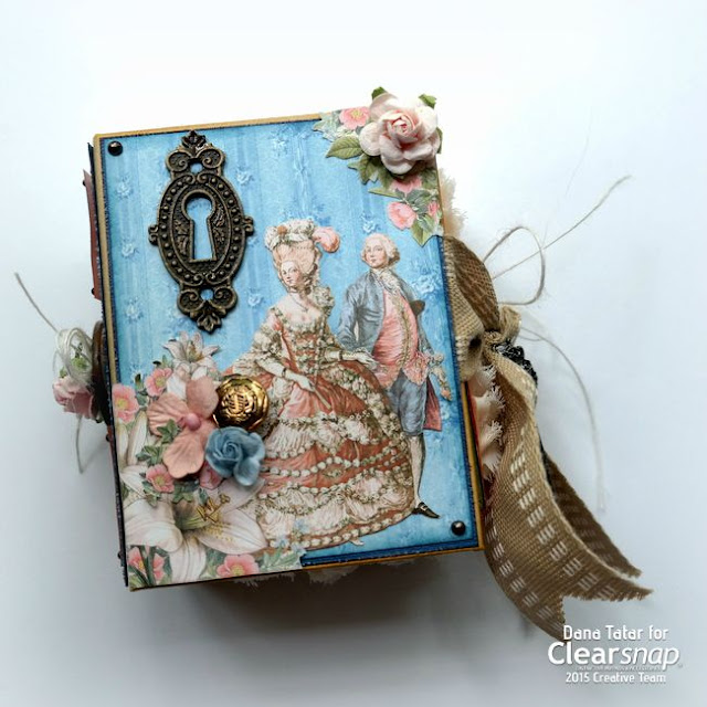 Graphic 45 Gilded Lily ATC Book Box Front Cover by Dana Tatar for Clearsnap