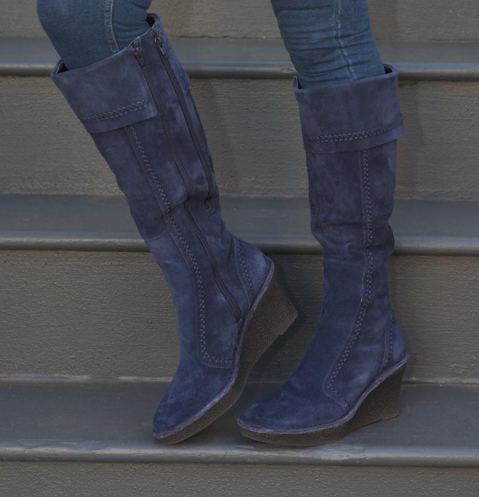 EMBRACING FRIVOLITY: Blue boots